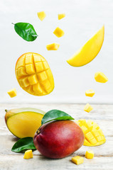 mango with flying slices