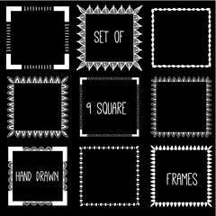 Hand drawn pencil doodle frame. Sketch design concept.  Set of square frames.