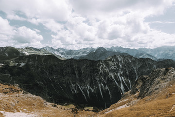 Black Mountain Range in the German Alps in front of dramatic and cloudy sky