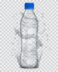 Transparent water splashes in gray colors around a plastic bottle with mineral water. Transparency only in vector file