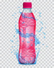 Transparent water splashes in blue colors around a plastic bottle with red juice. Transparency only in vector file