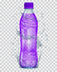 Transparent water splashes in gray colors around a plastic bottle with purple juice. Transparency only in vector file