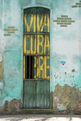 Viva Cuba painted door in Old Havana, Cuba