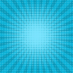 Blue halftone dotted pop art background. Vector illustration, eps 8.