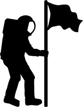 Astronaut Silhouette with flag