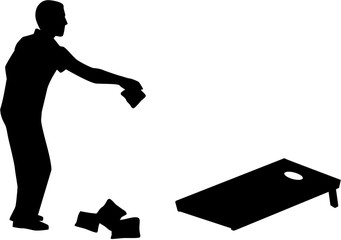 Man playing Cornhole game silhouette