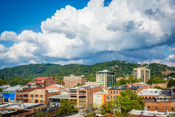 View of buildings in downtown and Town Mountain, in Asheville, N