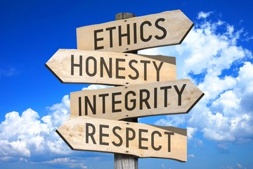 Wooden signpost with four arrows - ethics, honesty, integrity, respect - great for topics like business values etc.
