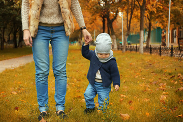 Little baby boy walking with mother in park