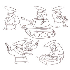Line drawing vector illustration of a cartoon general with mustache