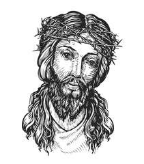 Jesus Christ with thorny wreath on his head. Sketch vector illustration