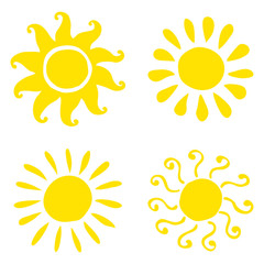 Set of hand drawn sun icons. Vector illustration.