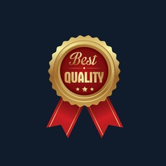 Isolated of gold badges top quality, premium quality and best award. Vector illustration