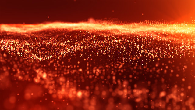 Red Sparkling particles Festive Background