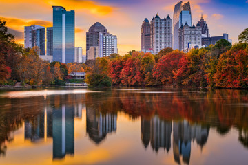 Atlanta, Georgia, USA autumn skyline at Piedmont Park.
