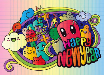 New year season doodle background.Hand drawn vector,linear decor