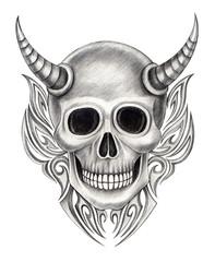 Art devil skull tattoo. Art design skull head mix graphic tribal tattoo hand pencil drawing on paper.