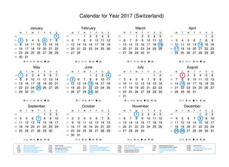 Calendar of year 2017 with public holidays and bank holidays for Switzerland