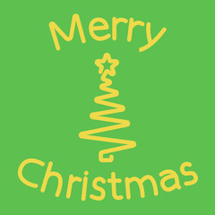 Vector postcard merry christmas with christmas tree and star on green background.