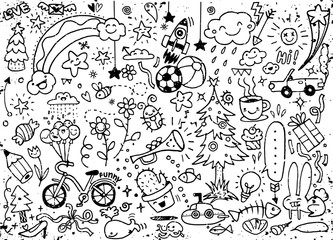 Set of cute hand drawn doodle