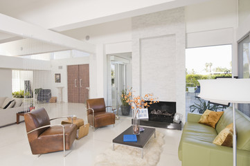 Living room with contrasting colored leather furniture