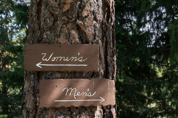 Wood outhouse signs, women's and men's, on a tree