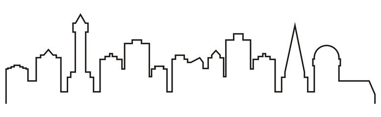 cityscape, black contour, vector icon