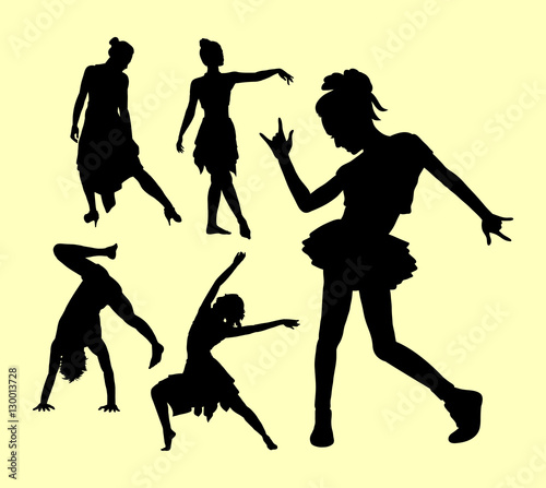 Dancing Pose Man And Women Silhouette Good Use For Symbol Logo