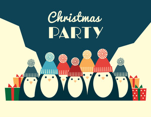 Christmas party invitation. Vector retro styled illustration of a large group of penguins in knit hats with pompoms. Horizontal format.
