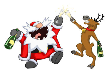 Santa Claus and reindeer raising glasses toast, Christmas party celebration humorous cartoon, vector, isolated