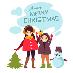 children celebrate Christmas. cartoon vector illustration