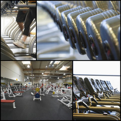 Collage of exercise equipment at gym