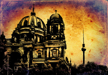 Berlin art vintage illustration