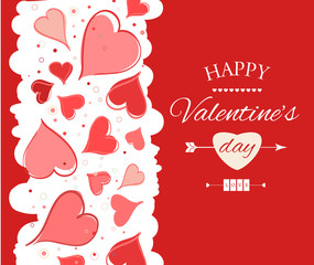 Happy Valentine s Day lettering Greeting Card. Vector illustration
