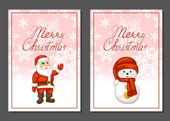 Merry Christmas poster, banner, greeting card. Cartoon Santa Claus and snowman. Set of brochures. Vector illustration.