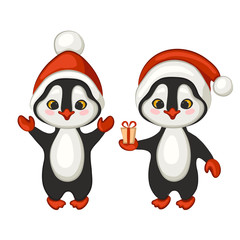 Two cute cartoon penguins in red caps. Christmas illustration. Vector.