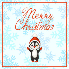 Merry Christmas poster, banner, greeting card. Penguin in a red hat on a background of snowflakes. Vector illustration.