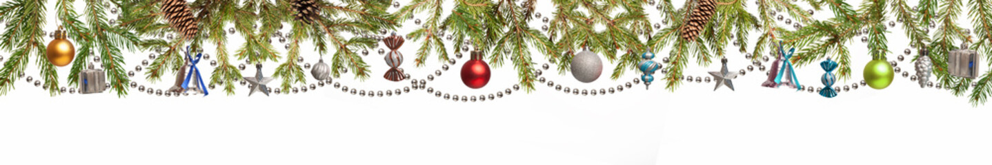 Christmas Tree and decorations on white background isolated