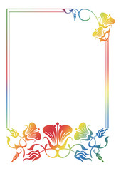Beautiful floral frame with gradient fill.