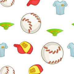 Baseball elements pattern. Cartoon illustration of baseball elements vector pattern for web