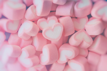 Pink heart shape marshmallow for love theme and Valentine backgr