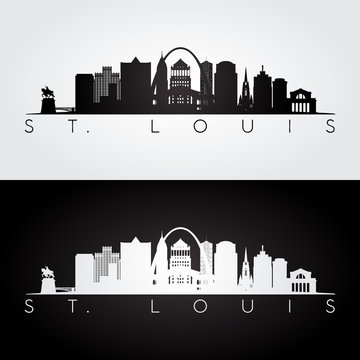 St. Louis skyline black and white silhouette.