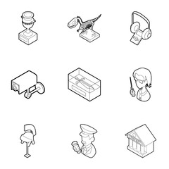 Items in museum icons set. Outline illustration of 9 items in museum vector icons for web