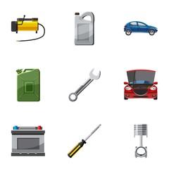 Renovation for machine icons set. Cartoon illustration of 9 renovation for machine vector icons for web