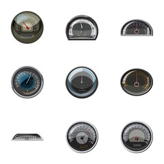 Speedometer icons set. Cartoon illustration of 9 speedometer vector icons for web