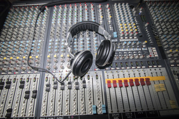 Headphone on the sound mixer board.