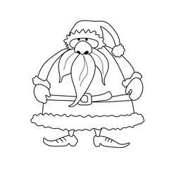 Weihnachtsmann zum ausmalen - Clipart comic zeichnung gemalt