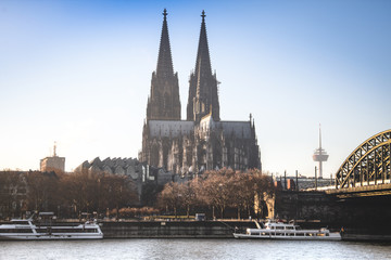 View over Cologne in Germany with the famous bridge over the Rhine river