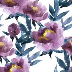 Hand painted watercolor peonies