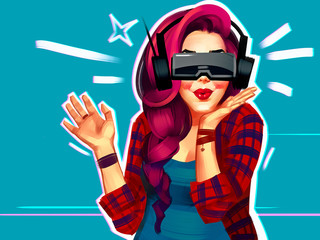 Portrait of a happy young woman with emotions from virtual reality. Raster illustration isolated on a blue background. Cartoon comic style. Pin-up. Pop art. 90s style